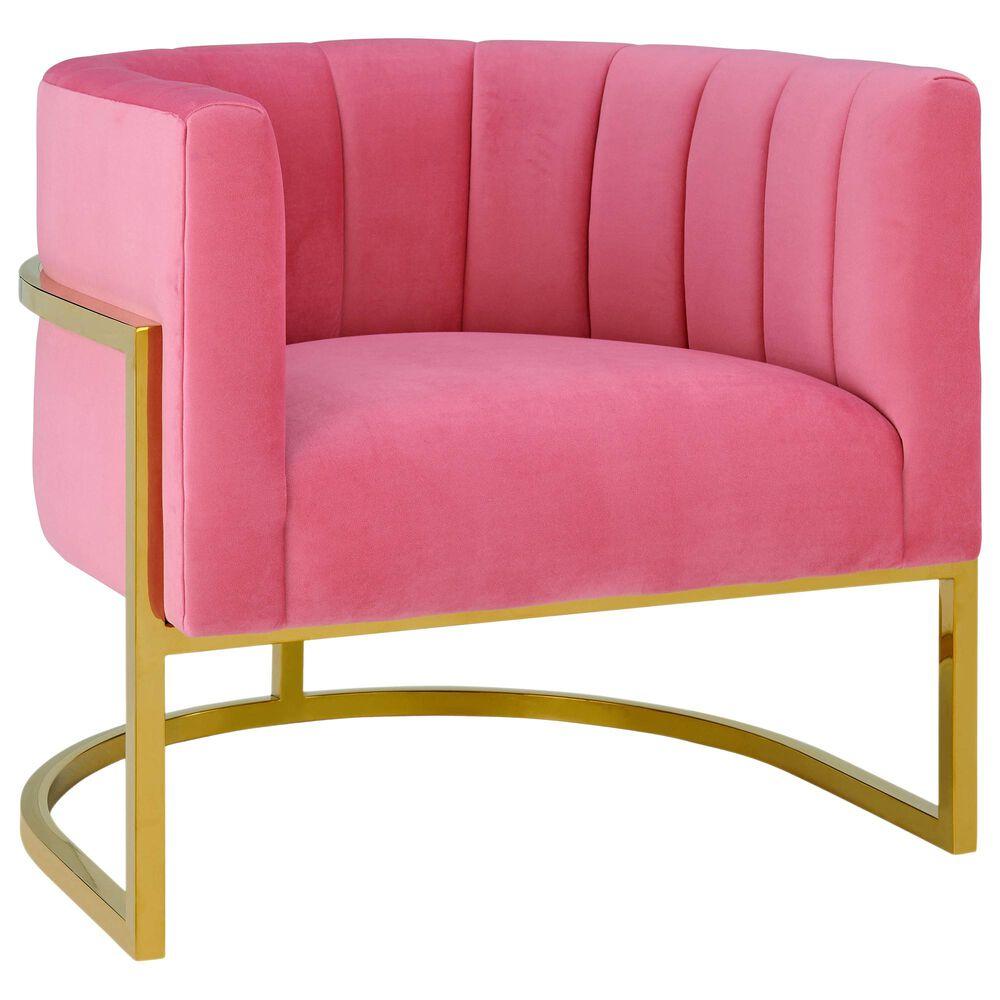 Tov Furniture Magnolia Chair in Rose Pink Velvet, , large