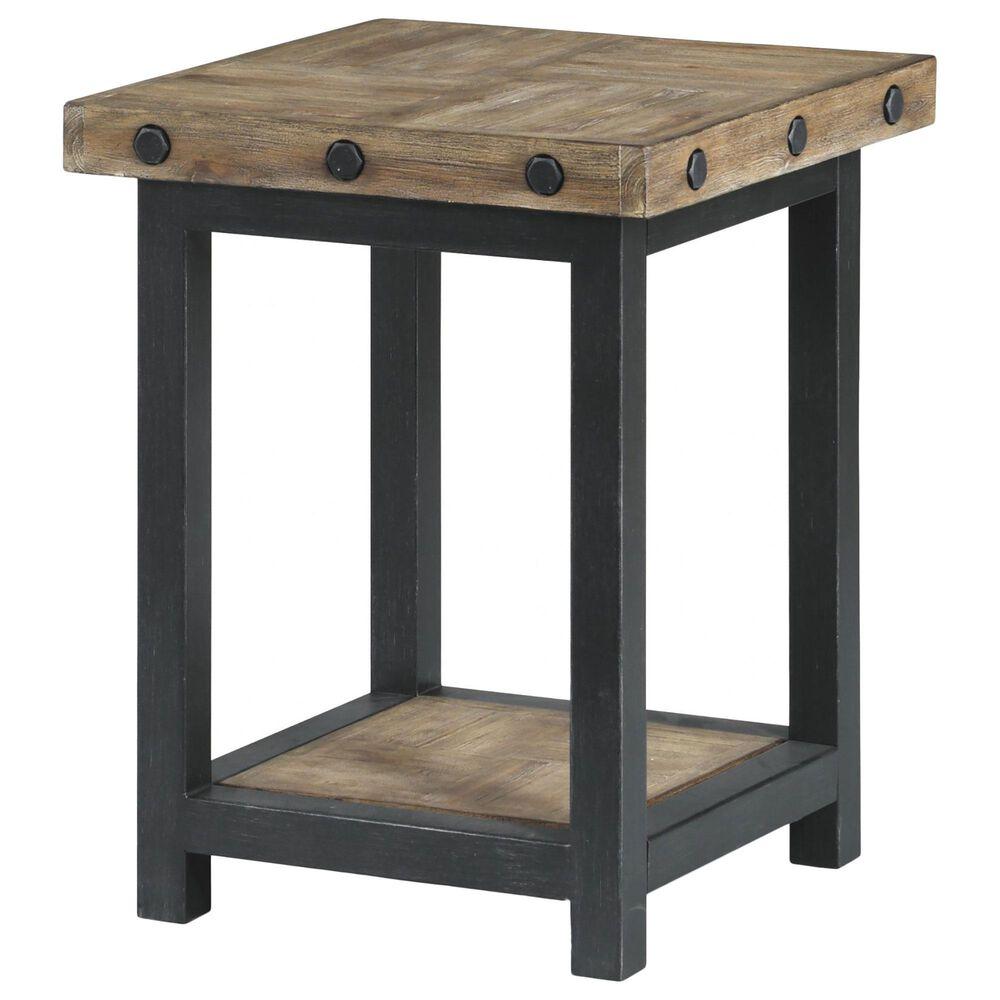 Flexsteel Carpenter Chairside Table in Rustic Light Brown, , large