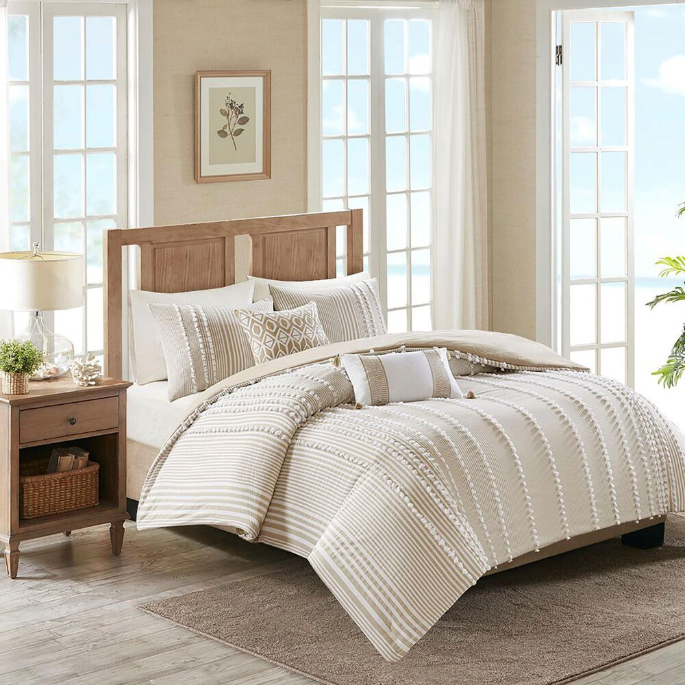 Hampton Park Anslee 3-Piece Full/Queen Cotton Yarn Dyed Comforter Set in Taupe, , large
