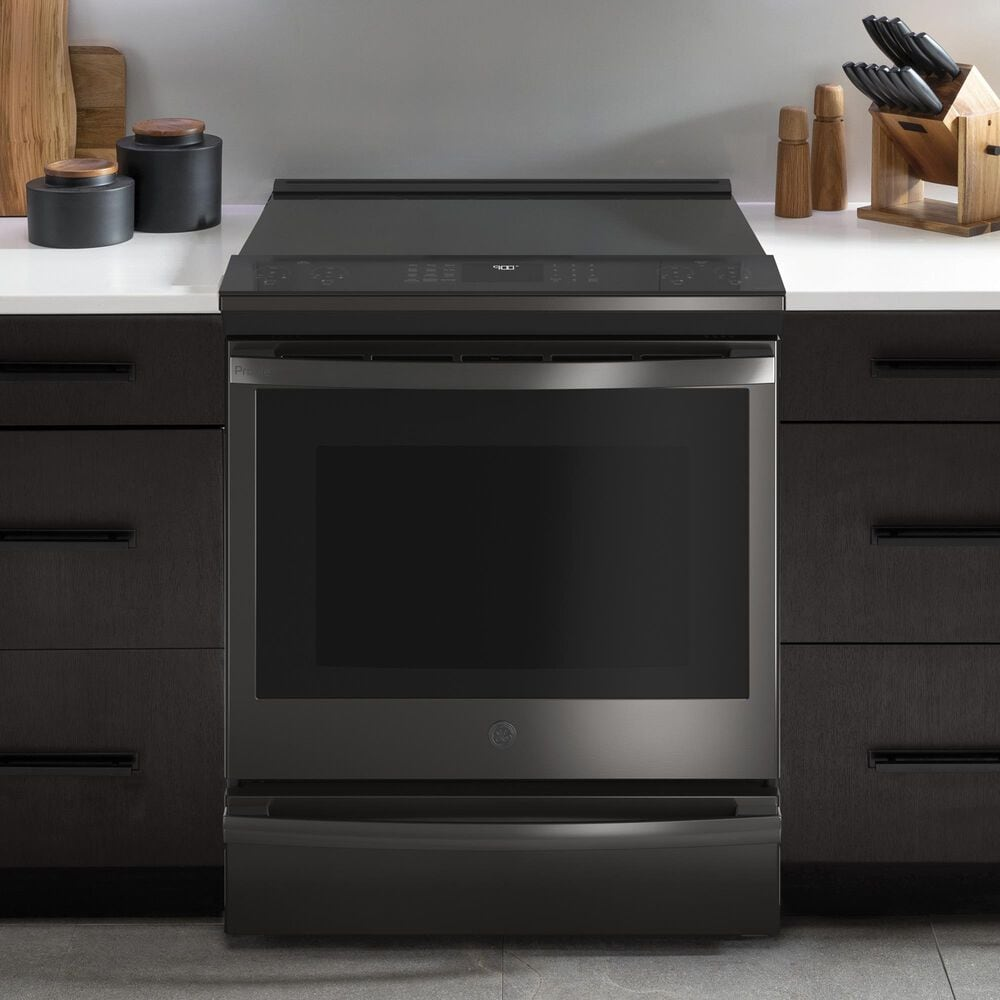 """GE Profile 30"""" Slide-In Front-Control Induction Range in Black Stainless Steel, , large"""