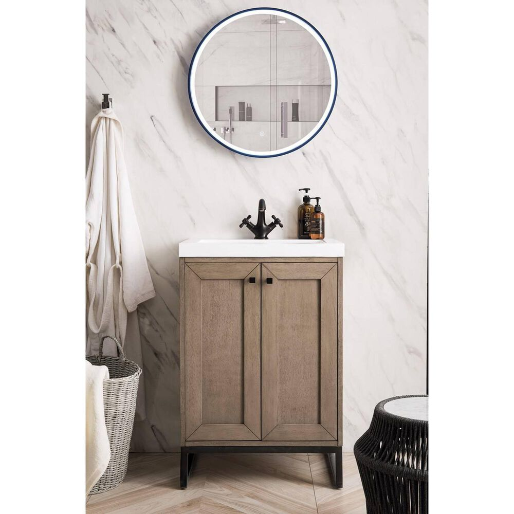 """James Martin Chianti 24"""" Single Bathroom Vanity in Whitewashed Walnut and Matte Black with White Glossy Solid Surface Resin Top, , large"""