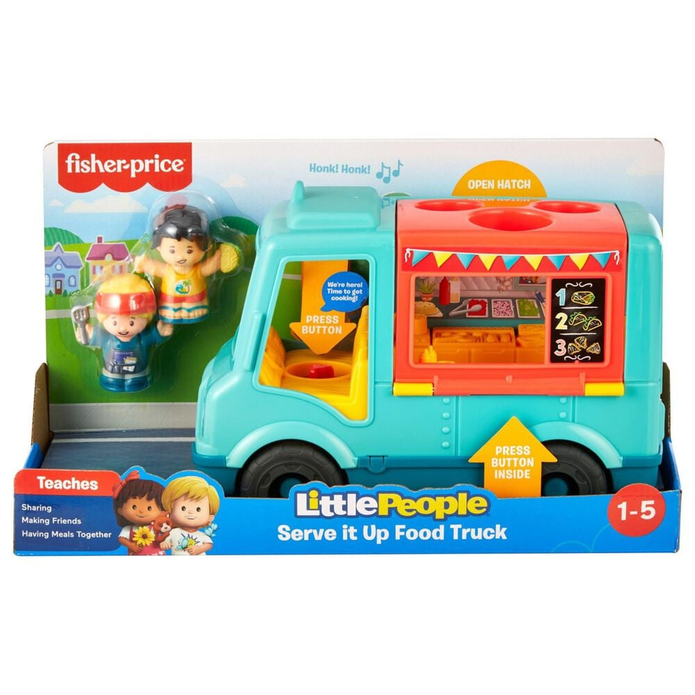 Little People Serve It Up Food Truck, Musical Toy Vehicle with Figures, , large