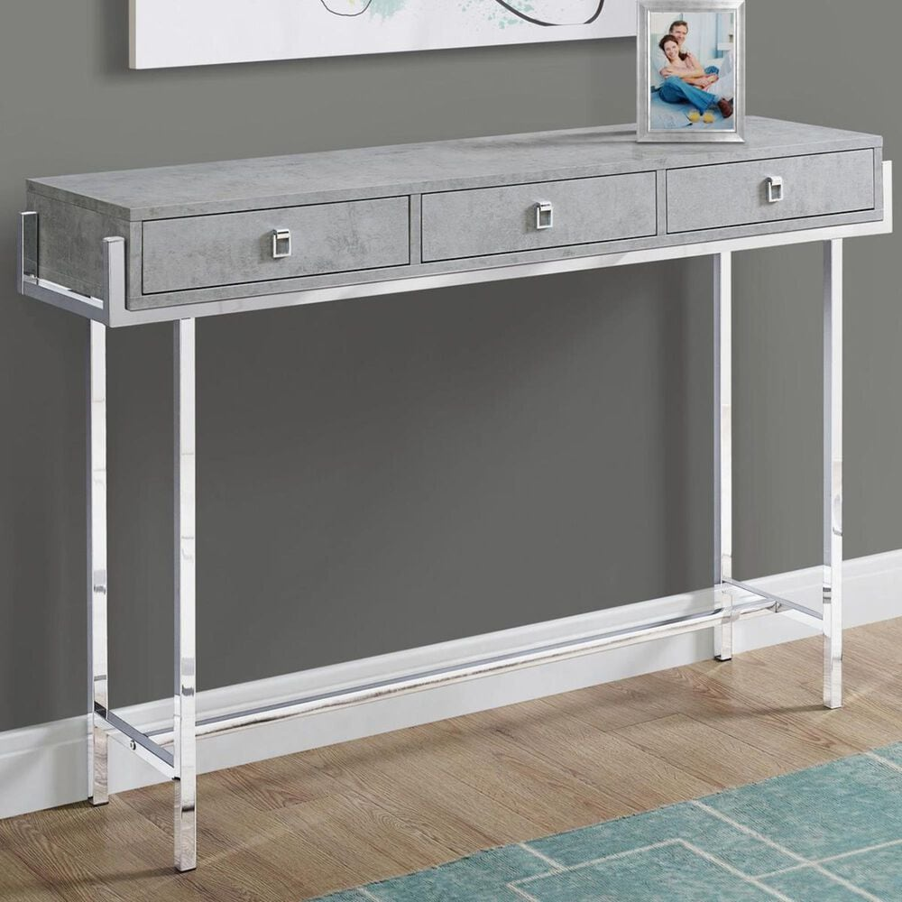 """Monarch Specialties 48"""" Accent Table in Grey Cement-Look and Chrome, , large"""