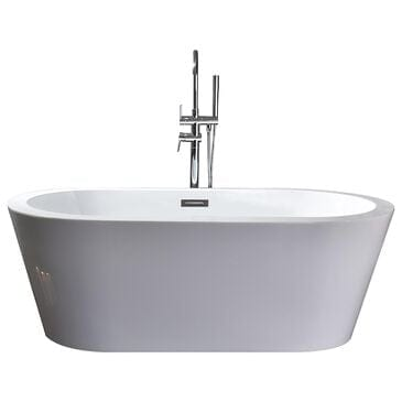 """Lexora Home Lure 67"""" Free Standing Acrylic Bathtub with Chrome Drain in White, , large"""