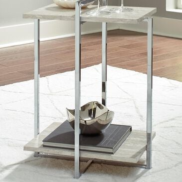 Signature Design by Ashley Bodalli Chairside End Table in Faux Travertine Marble and Chrome, , large