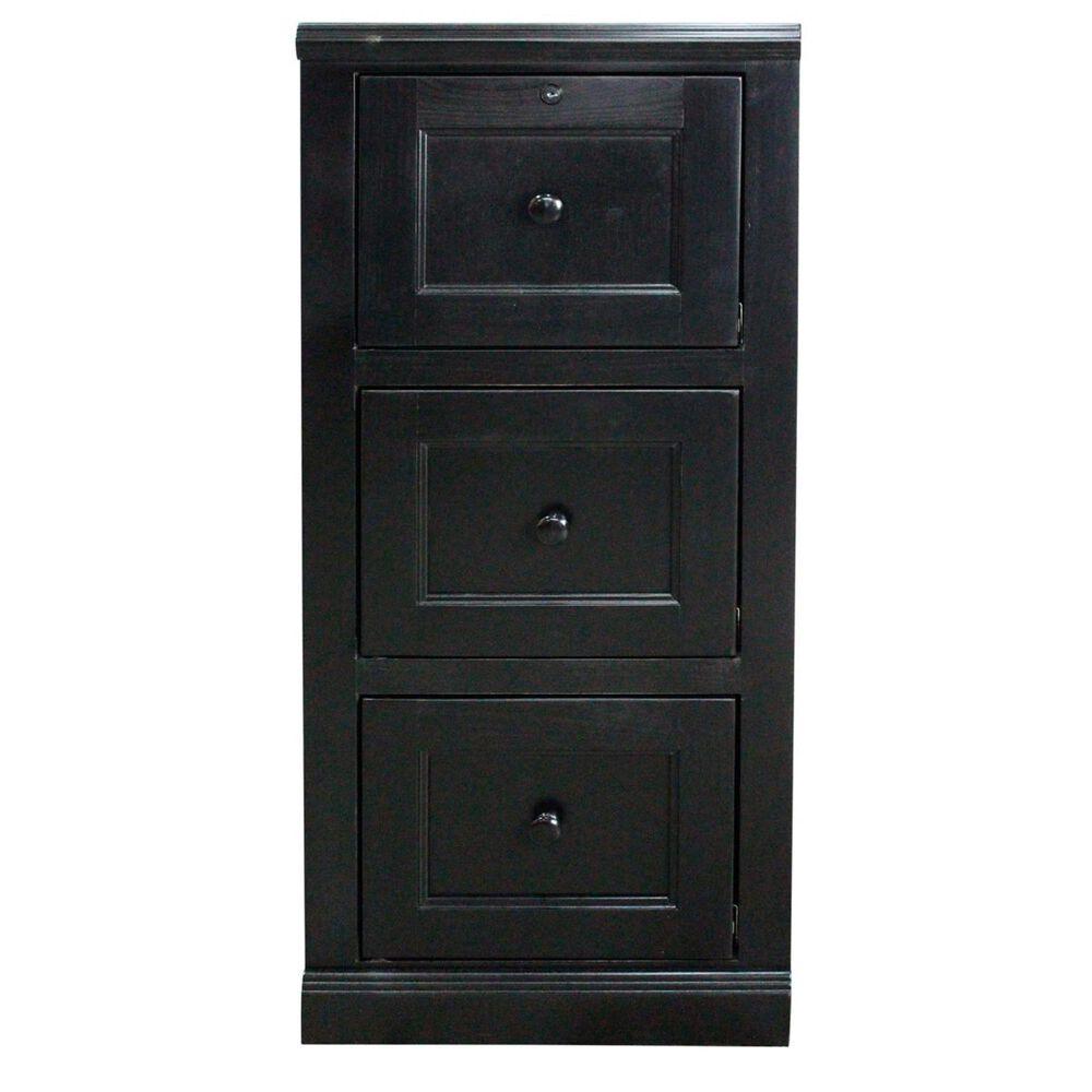 American Heartland Poplar 3-Drawer Desk File Cabinet in Black, , large