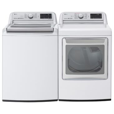 LG 5.5 Cu. Ft. Top Load Washer and 7.3 Cu. Ft. Electric Dryer Laundry Pair in White, , large
