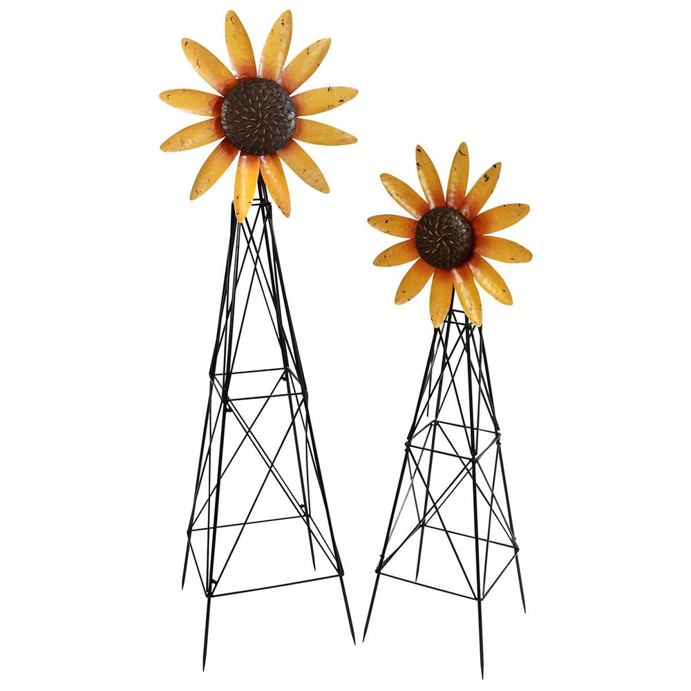 The Gerson Company Metal Sunflower Windmills (Set of 2), , large