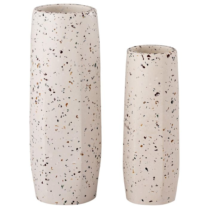 Tov Furniture Skinny Medium Vase in White Terrazzo