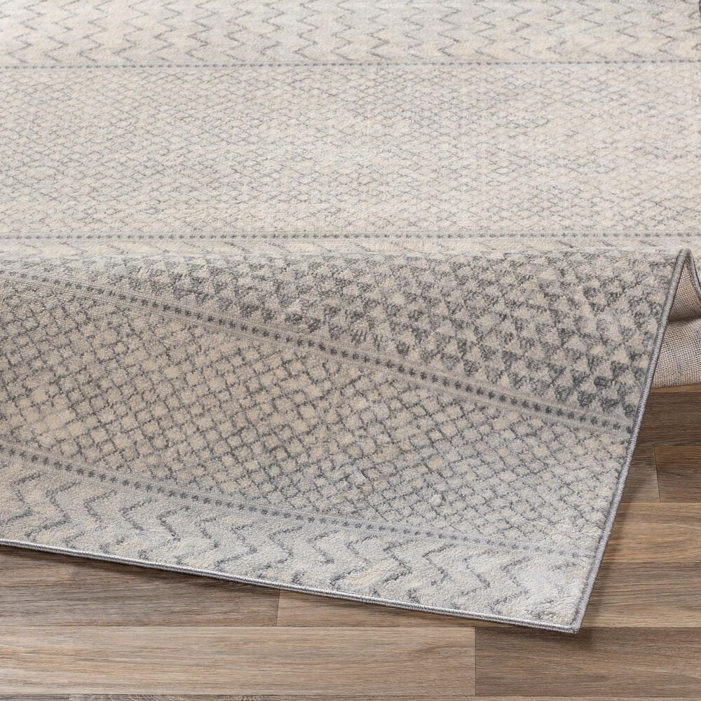 """Surya Monaco MOC-2306 2'6"""" x 8' Silver Gray and Cream Scatter Rug, , large"""