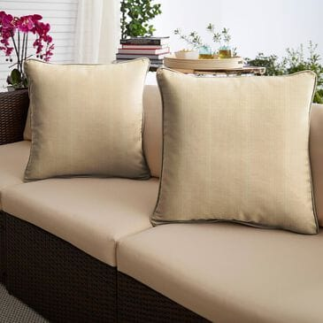 """Sorra Home Sunbrella 20"""" Pillow in Dupione Sand (Set of 2), , large"""