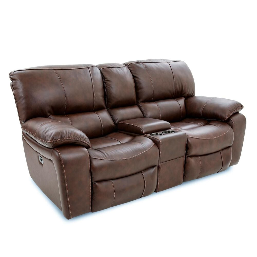 Oxford Furniture Cheers Leather Power Console Loveseat with Power Headrest in Saddle , , large