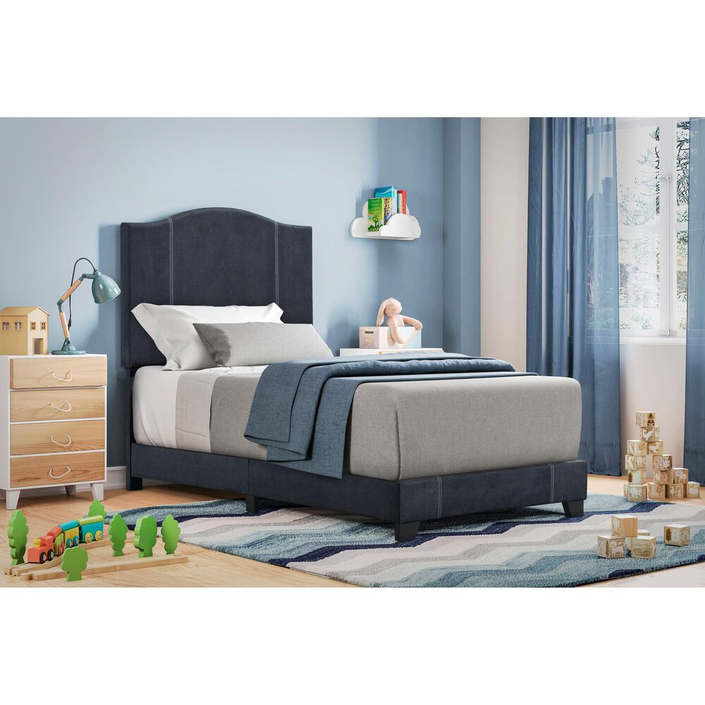 Accentric Approach Twin Upholstered Bed in Blue Denim, , large