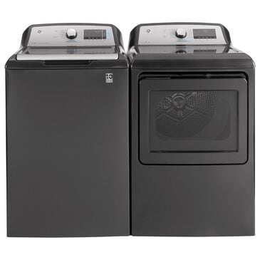 GE Appliances 5.0 Cu. Ft. Top Load Washer and 7.4 Cu. Ft. Electric Dryer Laundry Pair in Diamond Gray, , large