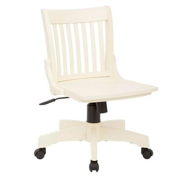 OSP Home Deluxe Armless Wood Bankers Chair with Wood Seat in Antique White Finish, , large