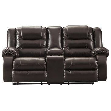 Signature Design by Ashley Vacherie Reclining Loveseat with Console in Chocolate, , large