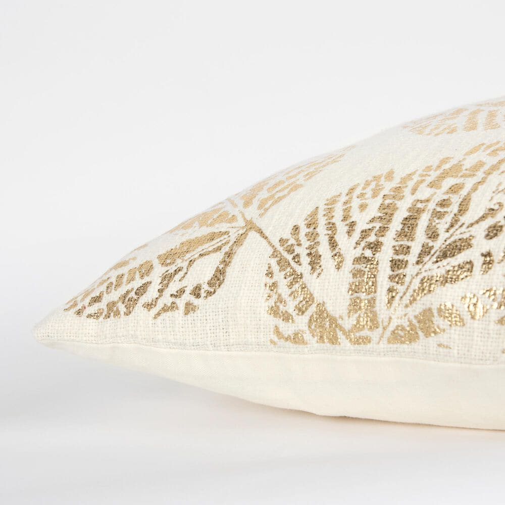 """Rizzy Home 20"""" Pillow in Ivory and Gold, , large"""