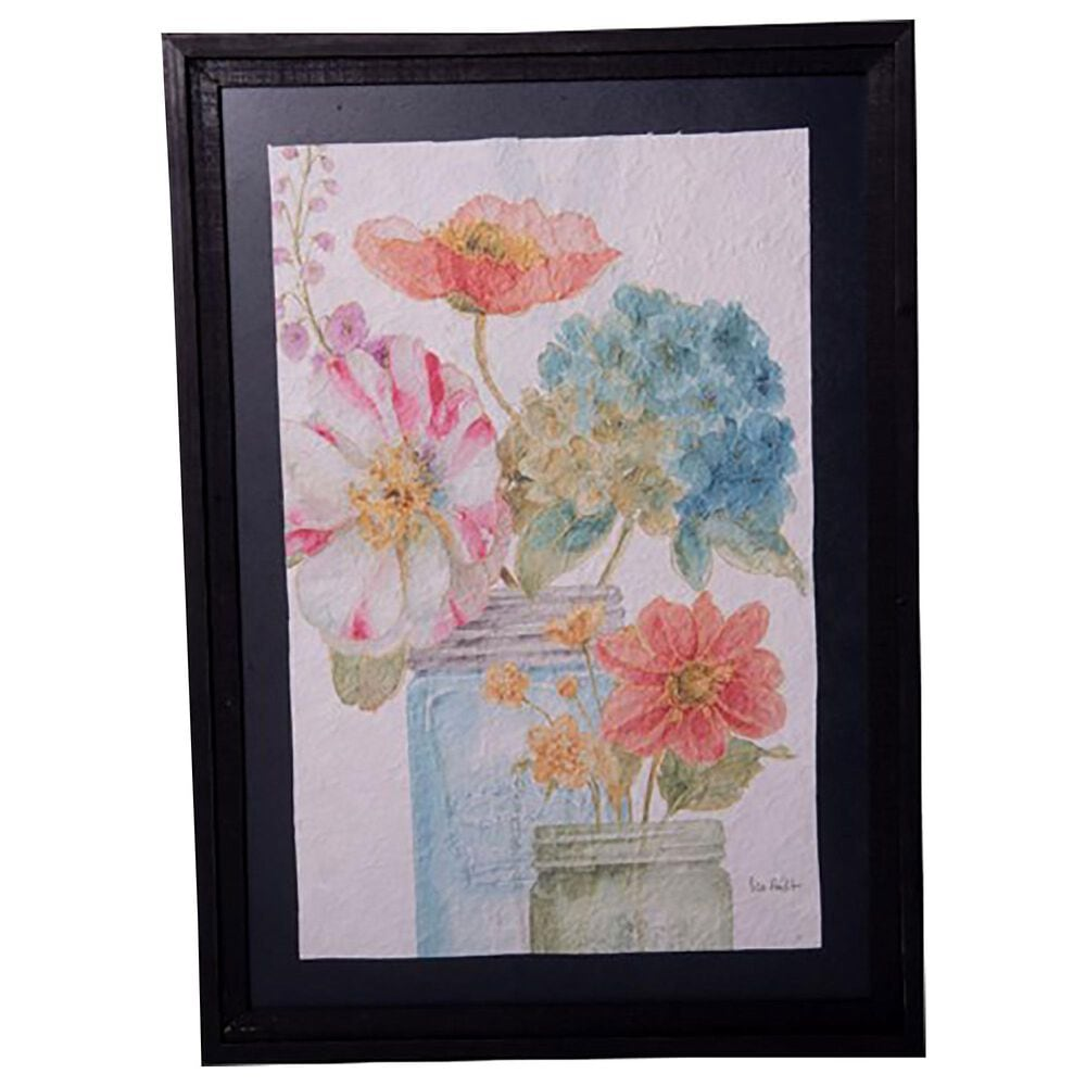 VIP Home and Garden American Mercantile Framed Floral Art in Black, , large