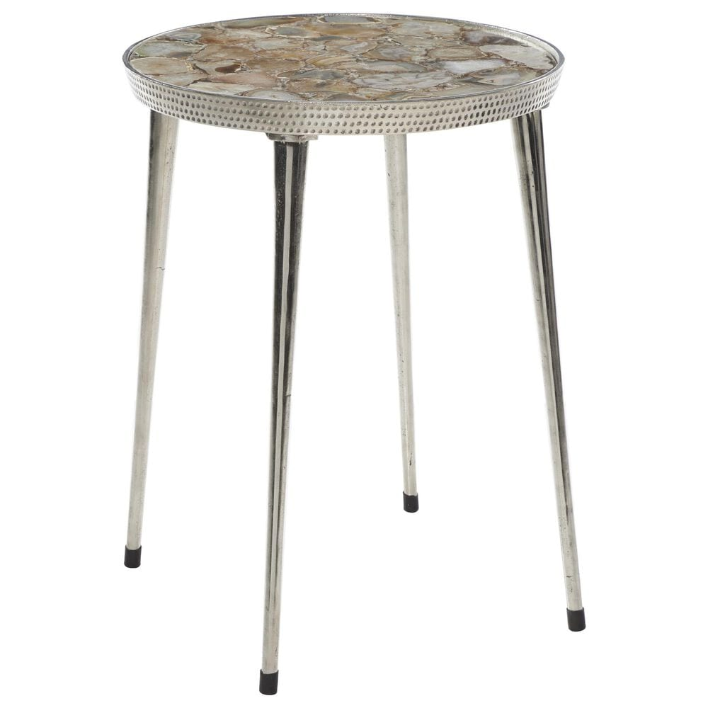 Maple and Jade Round Aluminum Accent Table in Silver , , large