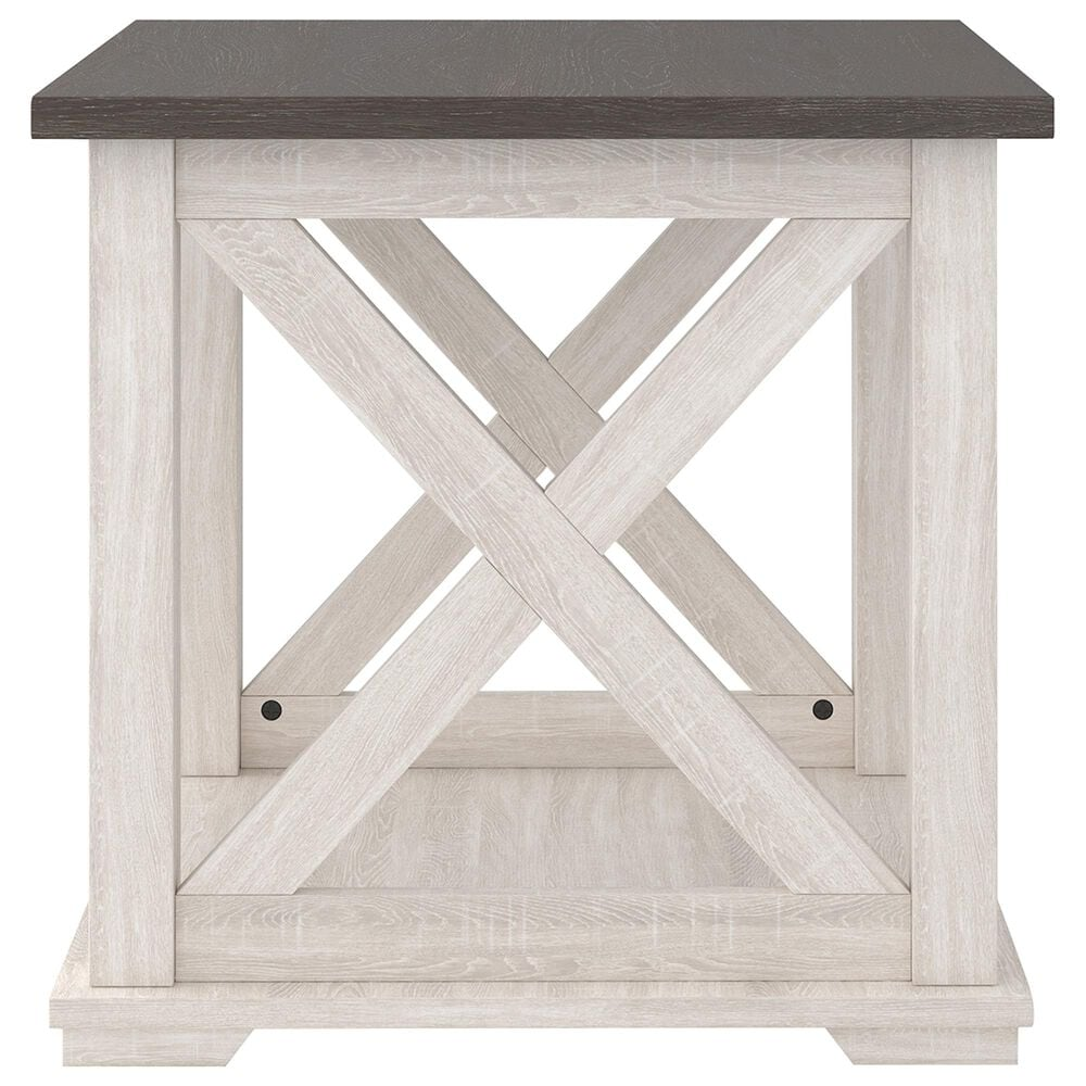 Signature Design by Ashley Dorrinson Square End Table in Gray and Antiqued White, , large