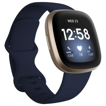 Fitbit Versa 3 Fitness Smartwatch with Midnight Band in Soft Gold, , large