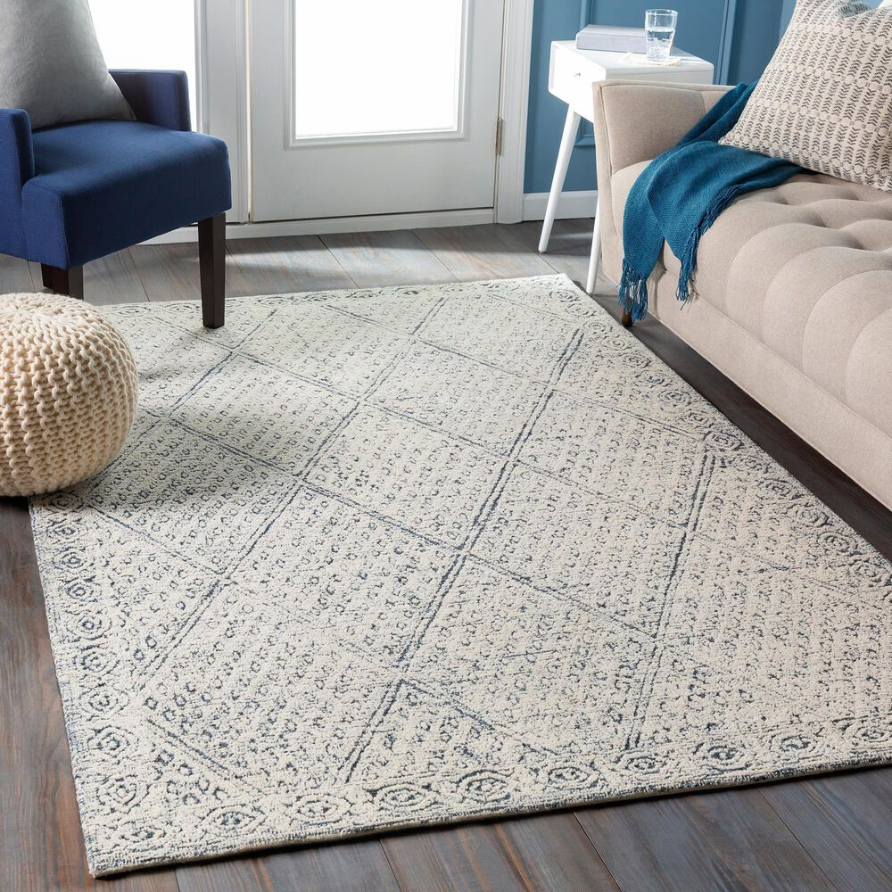 """Surya Louvre LOU-2305 5' x 7'6"""" Navy, Ice Blue and Cream Area Rug, , large"""