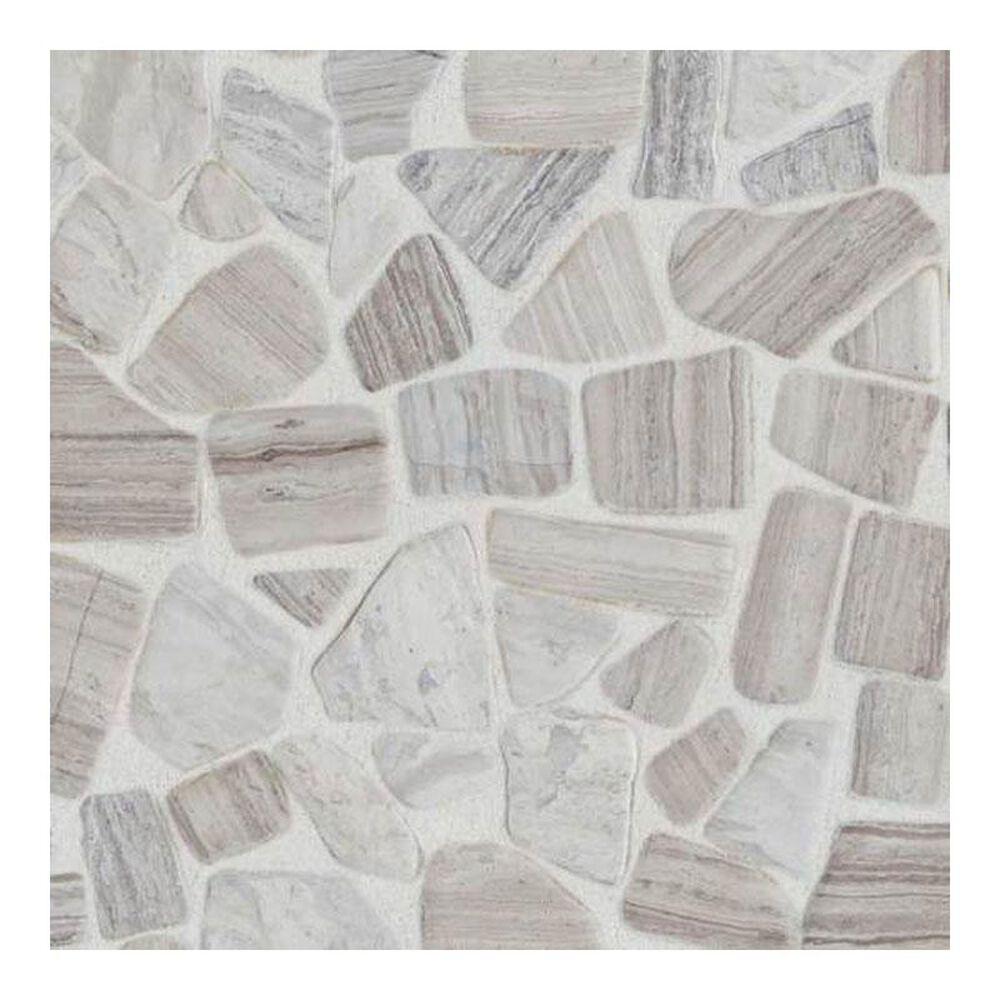 "Dal-Tile Stone Mosaics Chenille White 12"" x 12"" Porcelain Mosaic Sheet, , large"