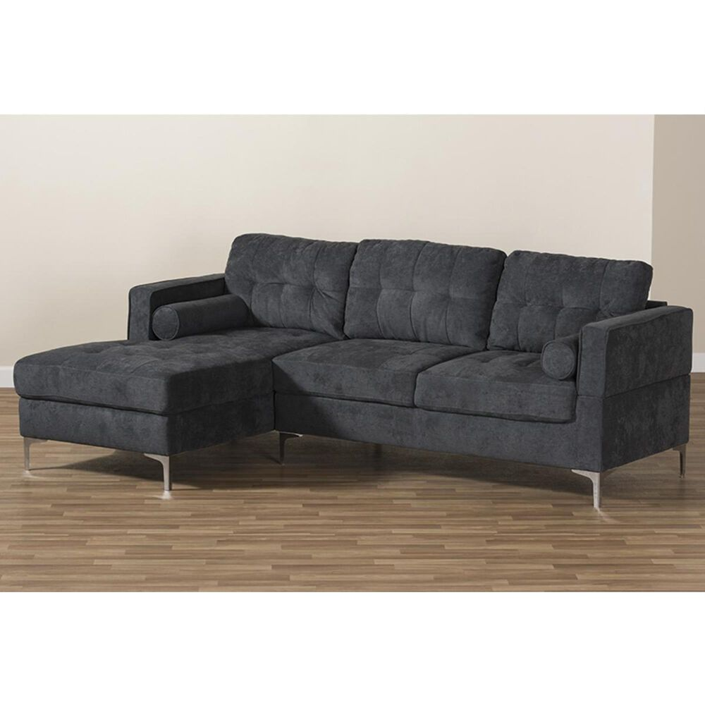 Baxton Studio Mireille Sectional Sofa in Dark Grey, , large