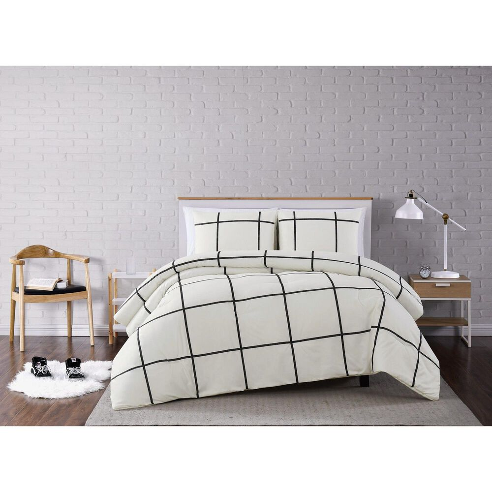 Pem America Truly Soft Windowpane 3-Piece Full/Queen Comforter Set in Ivory/Black, , large
