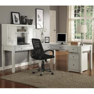 Simeon Collection Boca L-Desk and Hutch in Cottage White, , large