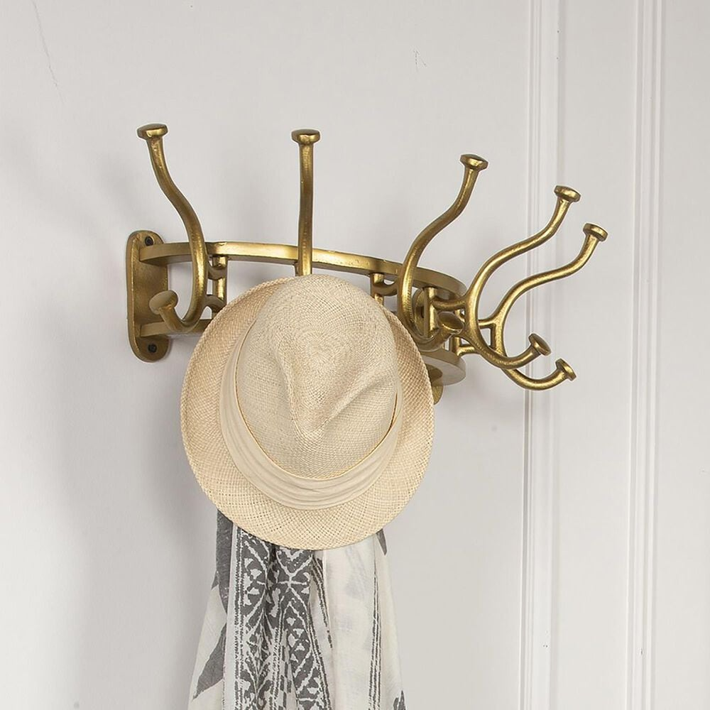 Uttermost Starling Wall Coat Rack in Antiqued Brass, , large