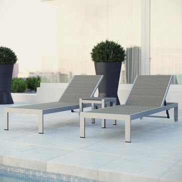 Modway Shore 3-Piece Outdoor Patio Aluminum Chaise Set in Silver and Gray Wicker, , large