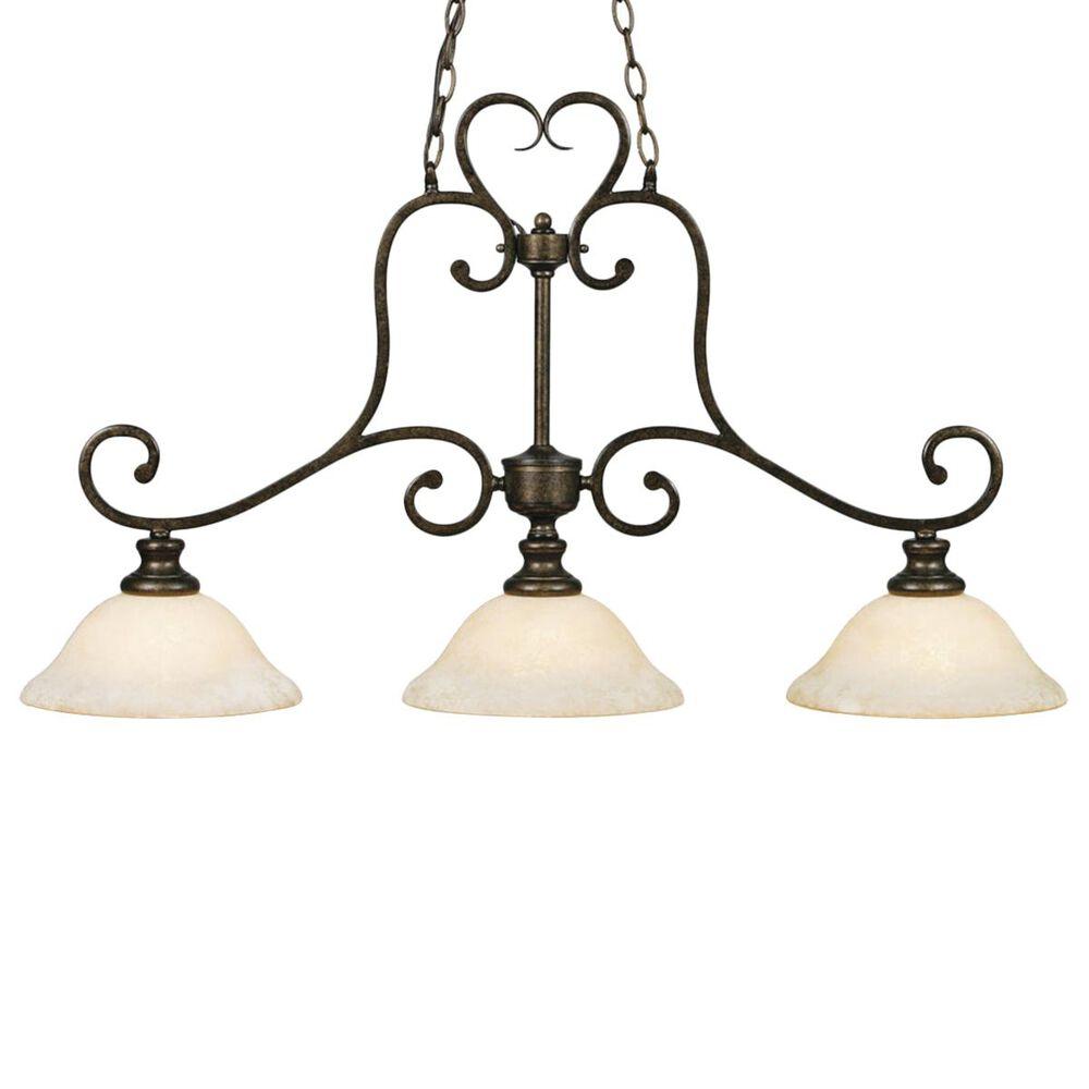 Golden Lighting Heartwood 3-Light Linear Pendant in Burnt Sienna with Tea Stone Glass, , large
