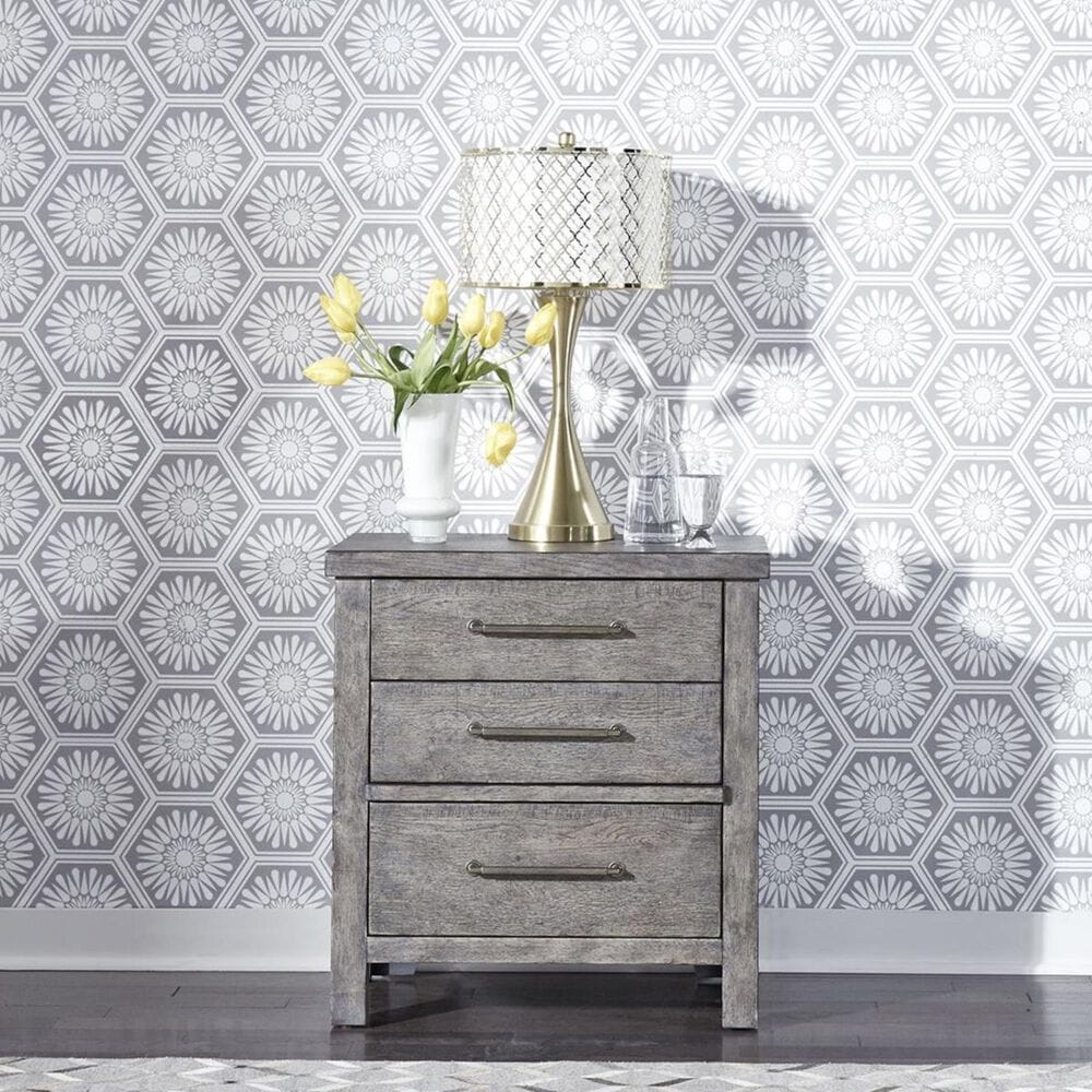 Belle Furnishings Modern Farmhouse 3 Drawer Nightstand in Dusty Charcoal, , large