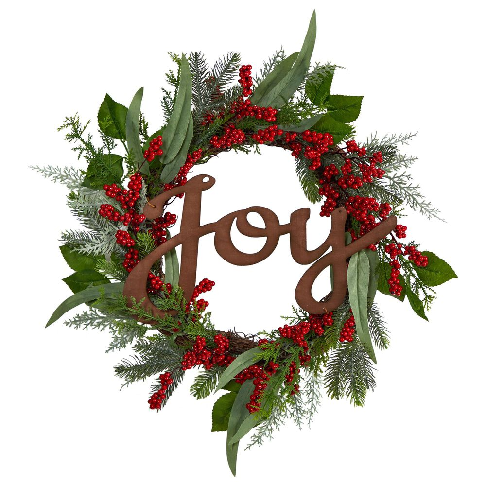 Nearly Natural Inc 24in. Joy and Berries Artificial Christmas Wreath, , large
