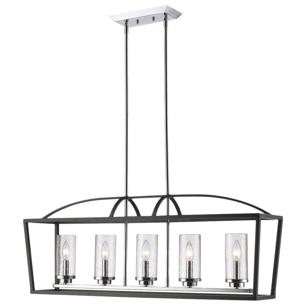 Golden Lighting Mercer 5-Light Linear Pendant in Black with Seeded Glass, , large
