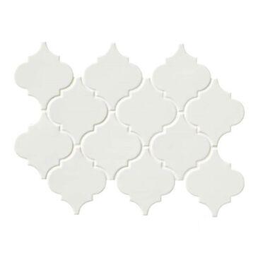 "MS International Arabesque Whisper White 15.5"" x 11"" Ceramic Mosaic Sheet, , large"