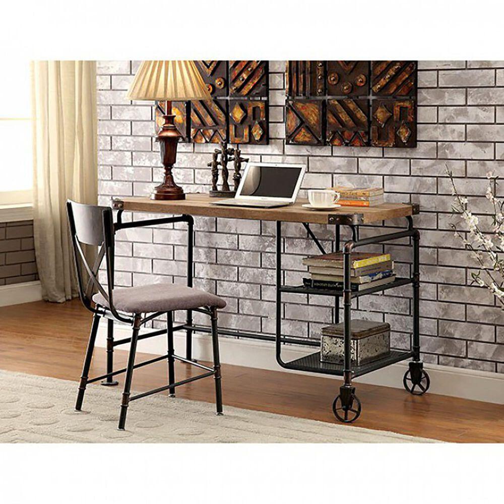 Furniture of America Fitzgerald Desk in Black/Brown, , large