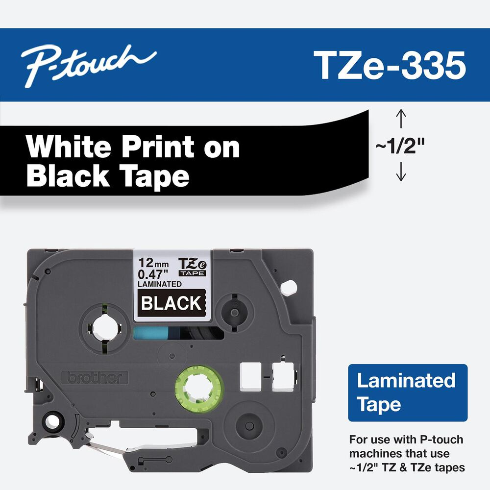 Brother 12mm Tape in White on Black for P-Touch, , large