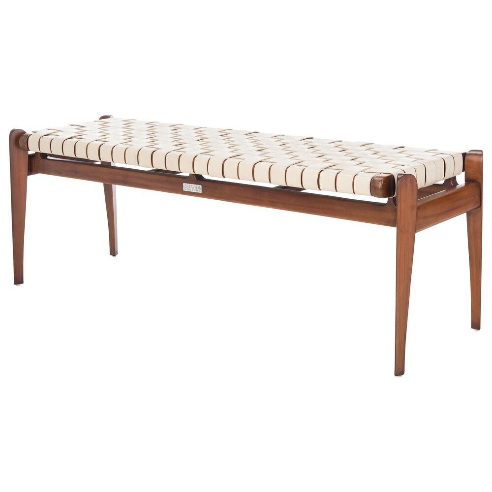 Safavieh Dilan Bench in White/Light Brown, , large