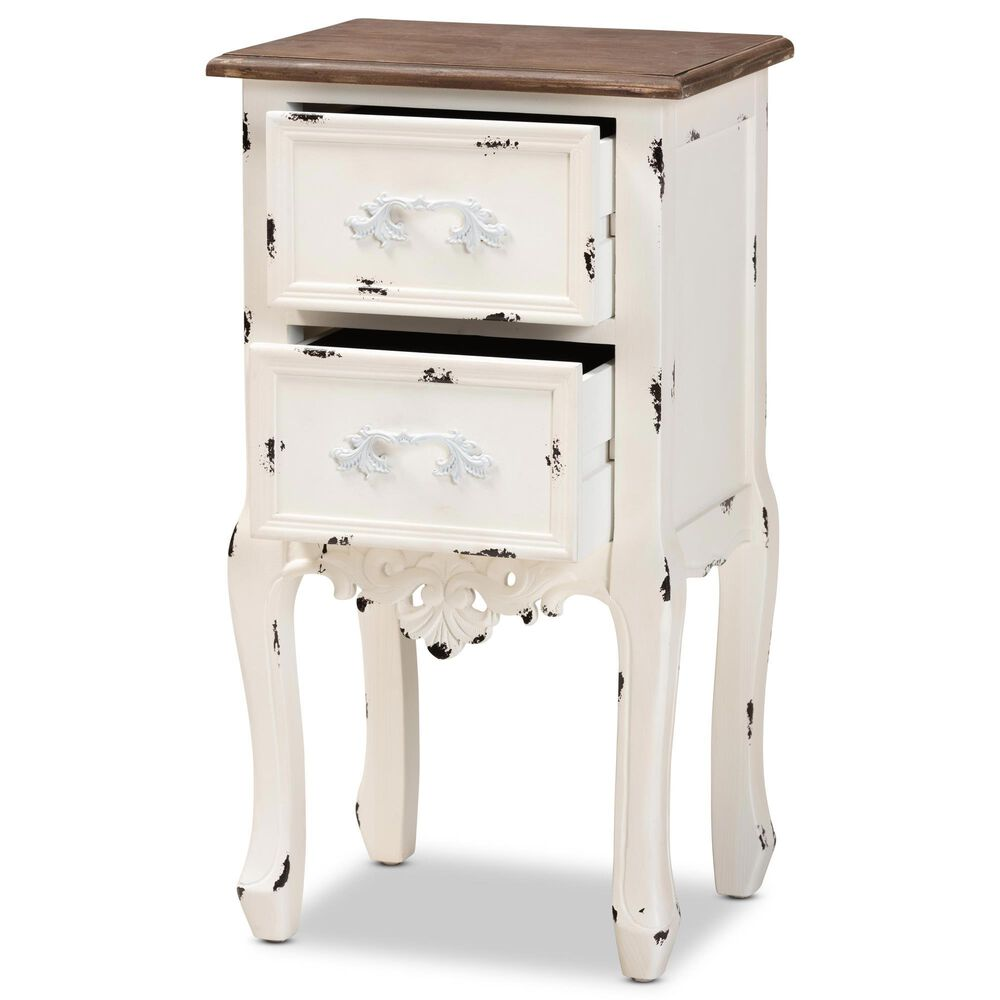 Baxton Studio Levron 2 Drawer Nightstand in Walnut Brown/White, , large