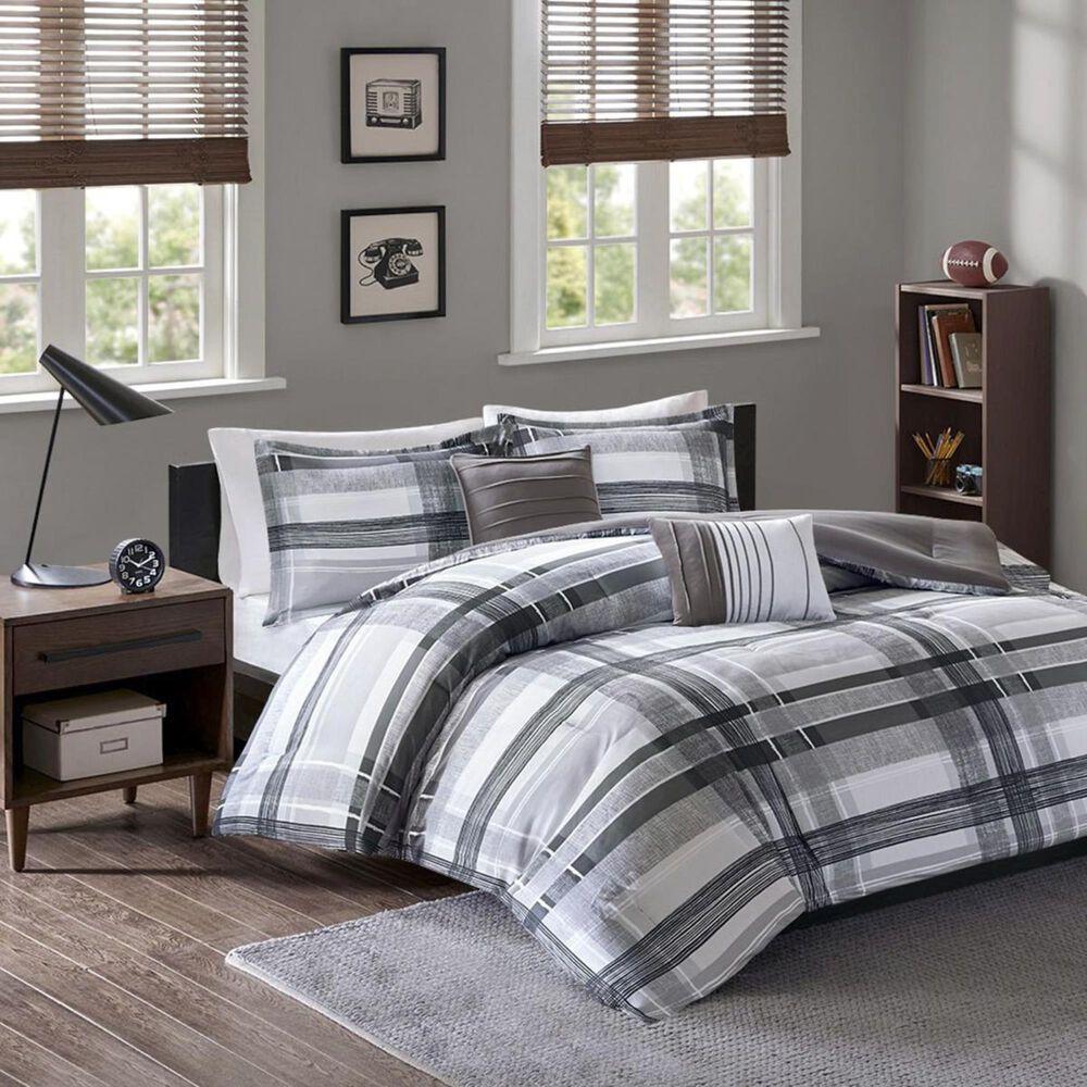 Hampton Park Rudy Plaid 4-Piece Twin/Twin XL Comforter Set in Black, , large