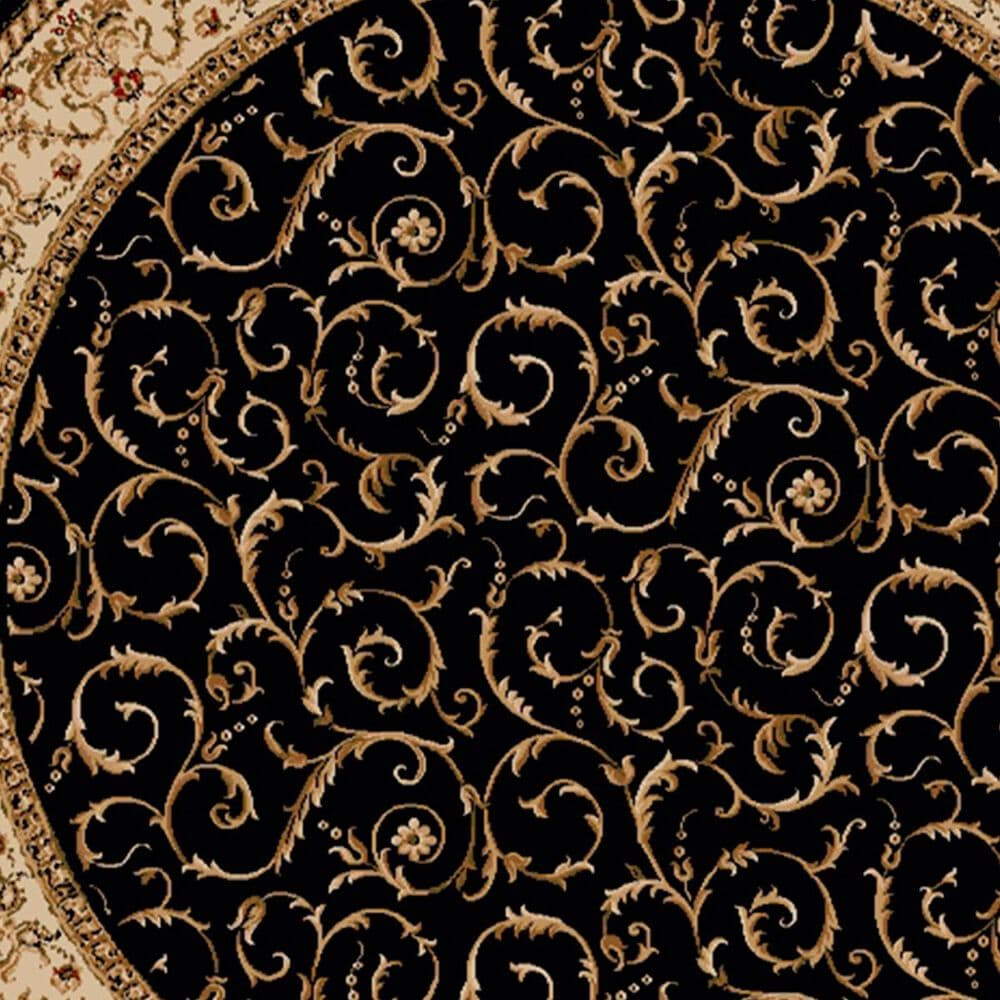 Radici USA Bergamo 1599 8' Round Black Area Rug, , large