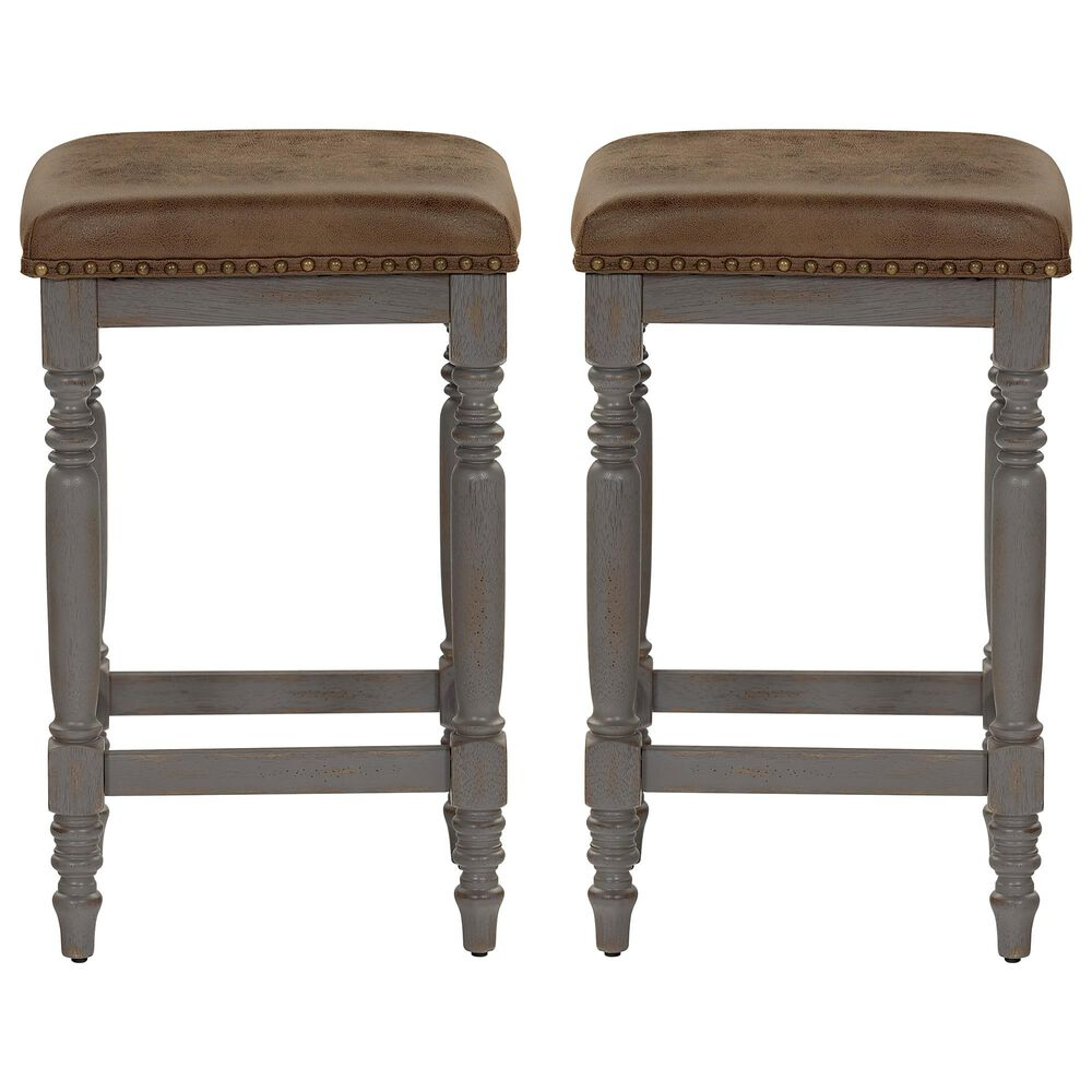 Tiddal Home Midori Counter Stool in Oak/Brushed Gray (Set of 2), , large