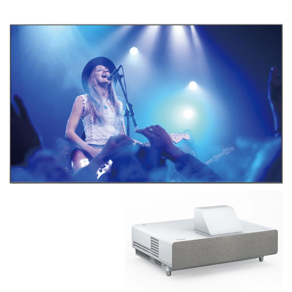 """Epson LS500 Laser Projection TV in White with 120"""" Screen, , large"""