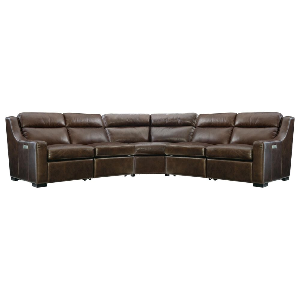Bernhardt Germain 3-Piece Leather Power Reclining Sectional in Brown, , large