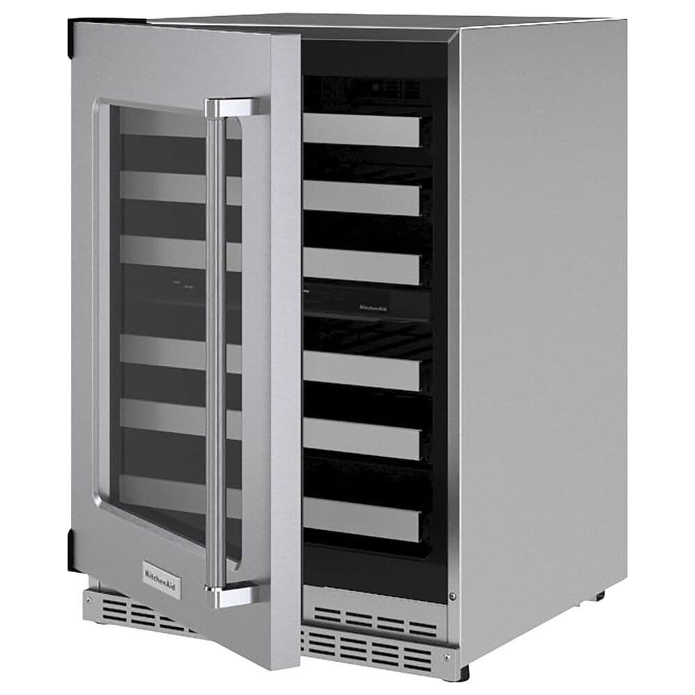 """KitchenAid 24"""" Undercounter Wine Cellar with Left Hinge, Metal-Front Racks in Stainless Steel, , large"""