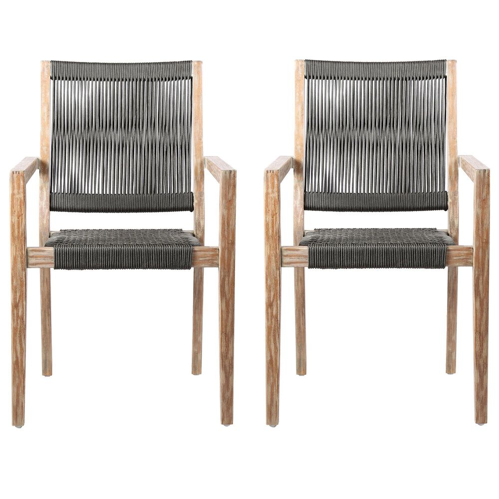 Blue River Madsen Patio Dining Chair in Charcoal/Teak/Eucalyptus (Set of 2), , large