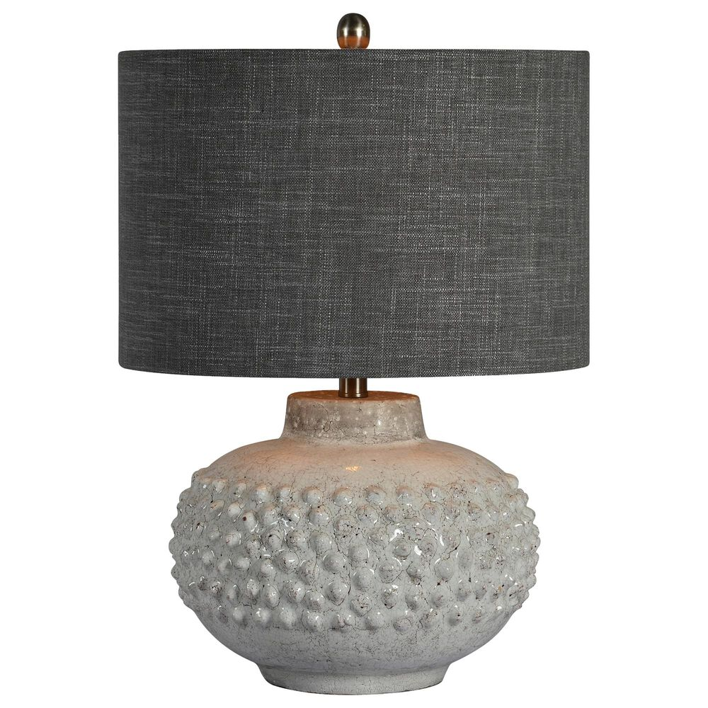 Southern Lighting Scarlett Table Lamp in White and Textured Gray, , large