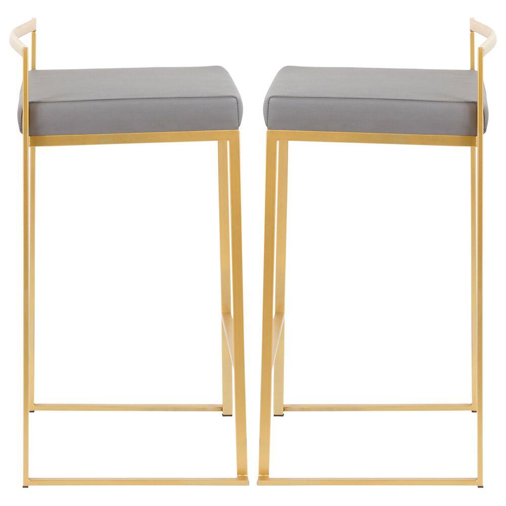 Lumisource Fuji Counter Stool in Grey/Gold (Set of 2), , large